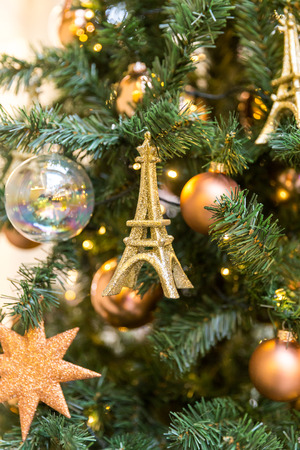 christmas tree decoration in vintage french style with eifel tower stock photo 72798435 - French Style Christmas Decorations