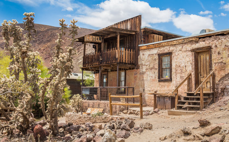 MAY 23. 2015- Old hotel in Calico, CA, USA: Calico is a ghost town in San Bernardino County, California, United States. Was founded in 1881 as a silver mining town. Now it is a county park.