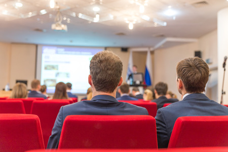 Business conference and Presentation, Audience in conference hall Stock Photo