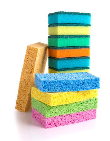 Stack of colorful cleaning sponges isolated on white background Stock Photo