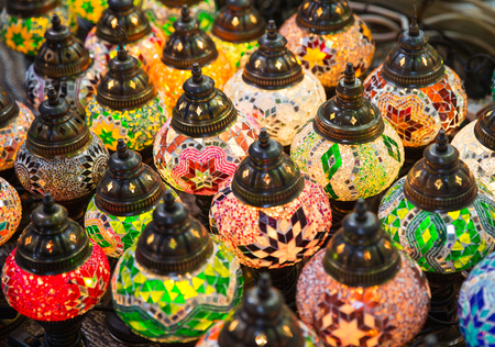 Traditional eastern lamps lighting in the darkness Stock Photo