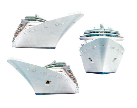 Reeks cruiseschepen op witte achtergrond wordt geïsoleerd die Stockfoto
