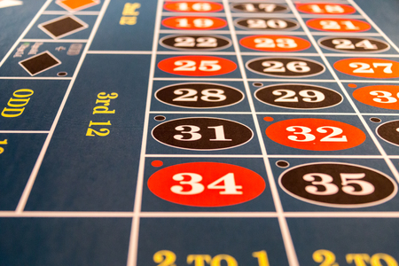 turn table: Roulette table in a casino Stock Photo