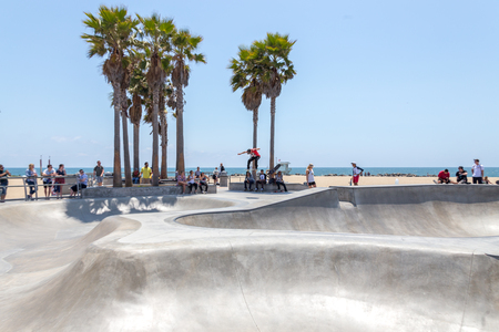 VENICE, UNITED STATES - MAY 21, 2015: Venice Beach, Skaters in Skatepark , California. Venice Beach is one of most popular beaches of LA County.