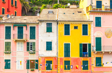 Exterior of colorful houses in Portofino Italy