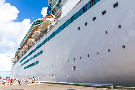 NASSAU, BAHAMAS - SEPTEMBER, 06, 2014: Royal Caribbean's ship, Majesty of the Seas in the Port of the Bahamas on September 06, 2014 Stock Photo - 124078329