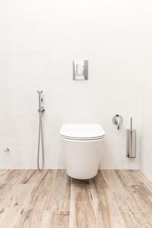 Toilet bowl in modern white style bathroom Stock Photo