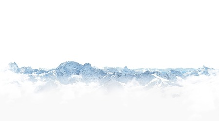 Panorama of winter mountains with snow. copy space background for your design Stock Photo
