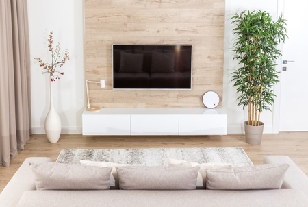 Living room with couch and led tv on wooden wall