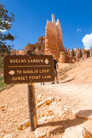 Sign in Bryce Canyon National Park in Utah State, USA.