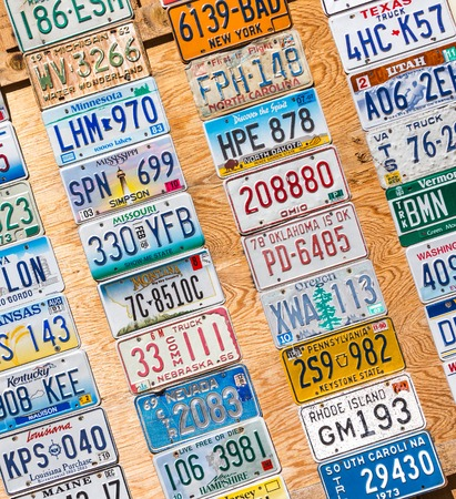 KANAB, UTAH, USA - MAY 25, 2015: License Plates Collage in public place on a street in Kanab Utah USA