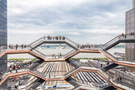 New York City, NY, USA - May 17, 2019: The Vessel, also known as the Hudson Yards Staircase