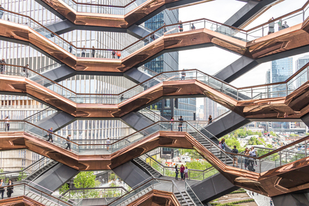 New York City, NY, USA - May 17, 2019: Interior of The Vessel public structure and landmark that was built as part of the Hudson Yards Redevelopment Project in Manhattan New York City