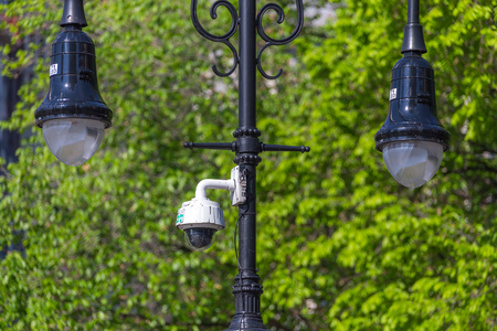 New York City, NY, USA - May 17, 2019: NYPD security surveillance camera an a street in USA Editorial