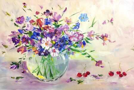 Summer wild meadow flowers bouquet in glass vase. still life oil art painting