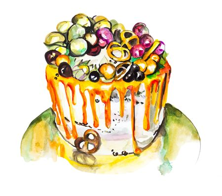 Fruit cake with meringue, watercolor drawing isolated on white background
