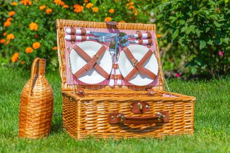 Picnic basket on green sunny lawn in the park Stockfoto