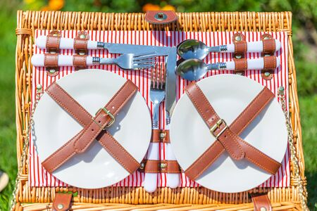 Closeup of Picnic set basket on green sunny lawn in the park
