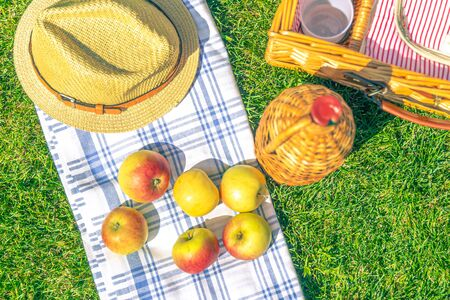 Picnic basket on green sunny lawn in the park Stok Fotoğraf