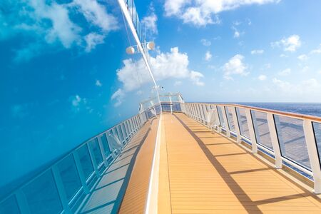 Cruise ship empty open deck with copy space