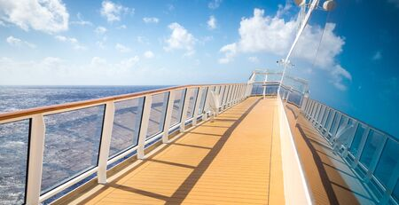 Empty open deck on a Cruise ship on sunny day