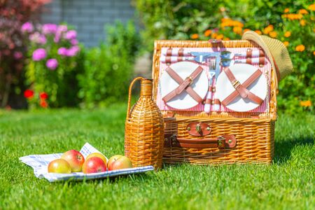 Picnic set of food basket on green fresh lawn in the park