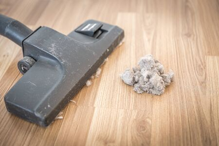 vacuum cleaner and dust on a wooden floor