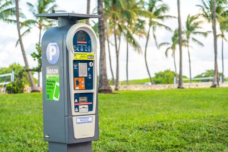 Miami, USA - September 10.09.2019: Self service parking pay station with solar power 報道画像