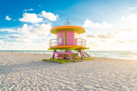 cabin at sunrise on the Miami Beach, Florida, USA
