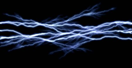 Tunder lightning bolts isolated on black background, illustration of electric concept 写真素材 - 132248009