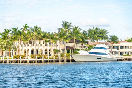 Luxury Waterfront Mansion in Fort Lauderdale Florida Stock Photo