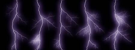 Five thunder lightning bolts isolated on black background Фото со стока