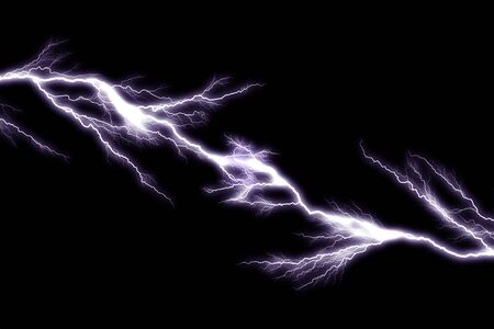 Tunder lightning bolts isolated on black background Фото со стока