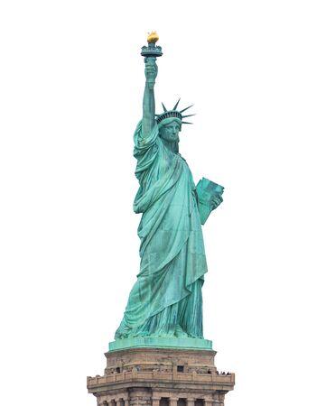 La Statua della Libertà isolata su sfondo bianco Archivio Fotografico