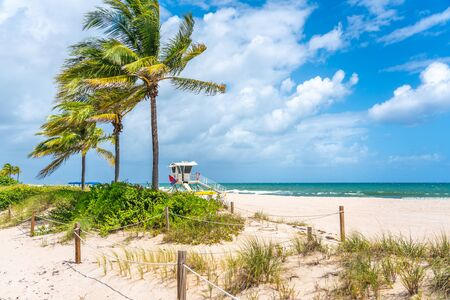 Lifeguard station on the beach in Fort Lauderdale, Florida USA