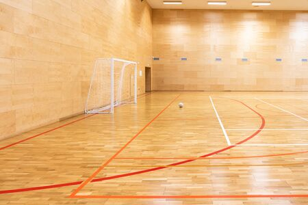 Gates for mini football. Hall for handball in modern sport court