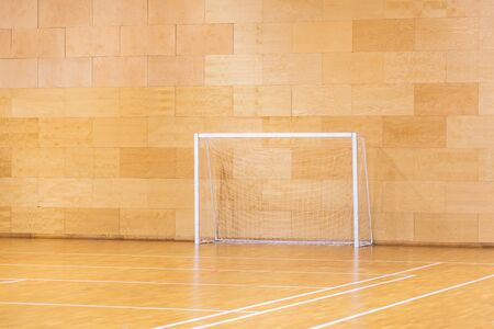 Gates for mini football. Hall for handball in modern sport court Stock Photo