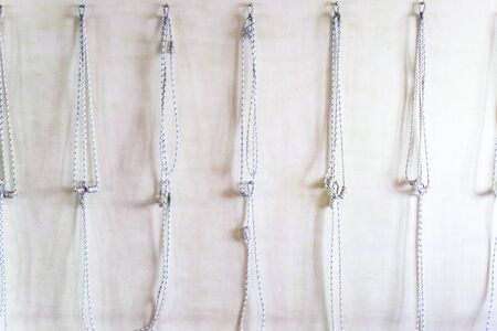 Yoga ropes hanging on studio wall. Iyengar yoga props Stockfoto