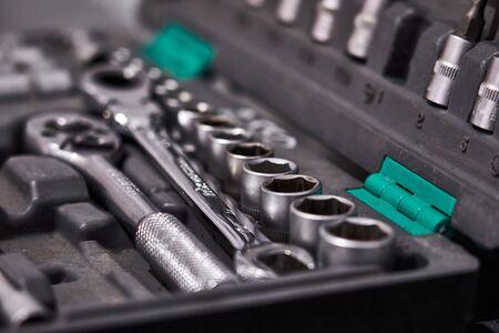 car mechanic tool set in auto repair shop