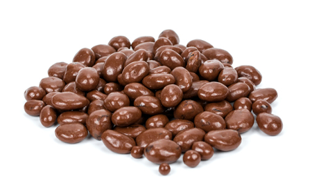 흰 배경에 고립 된 초콜릿에 건포도