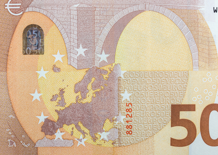 fifty euro banknote: Fifty euro banknote close-up