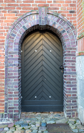 wooden doors in an old castle Stock Photo