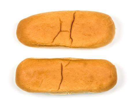 hotdog buns isolated against a white background Standard-Bild