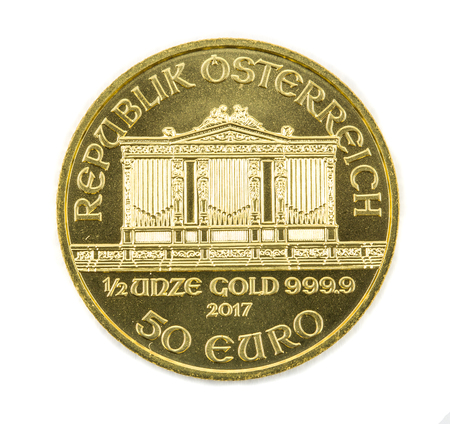 Gold coin Austria 1/2 ounce Vienna Philharmonic. Isolated