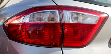 Closeup headlights of car.modern light element.