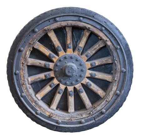 wheel from the old military vehicles.Isolated. World War I