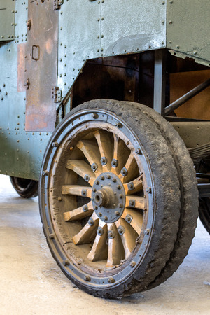 wheel from the old military vehicles. World War I Stock Photo