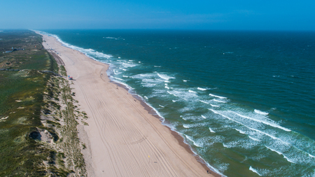beach on the northern sea, the island of sylt. view from above