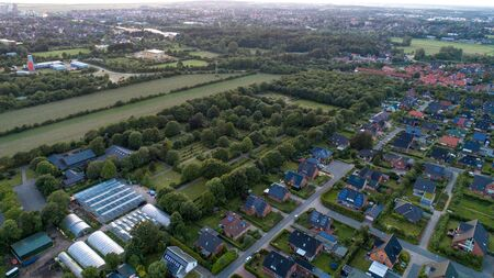 German city Husum. view from above