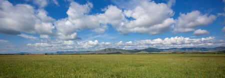 Panoramic view of the mountains West Siberia, Russia.